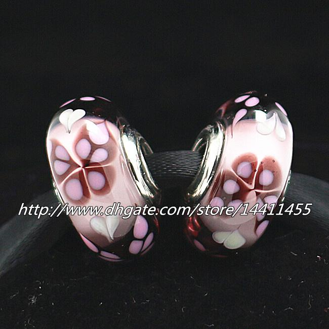Pink Butterfly Kisses 925 Sterling Silver Thread Murano Glass Beads with Clear Cz Fit Pandora European Charm Bracelets