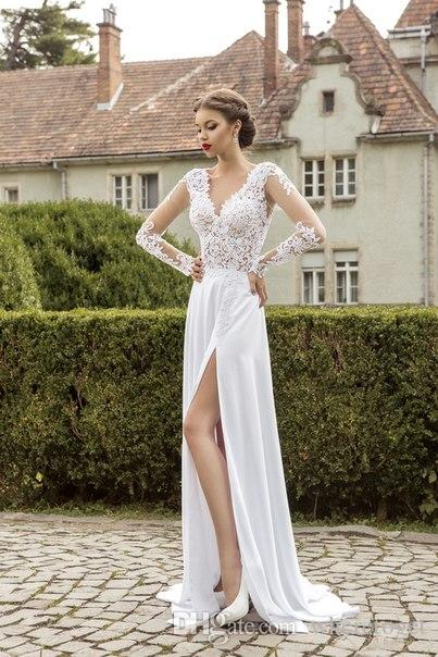 Charming New Designer Long Sleeve Wedding Gowns 2019 Sexy Lace Open Back Floor Length Split Side Bridal Dresses Hot Sale