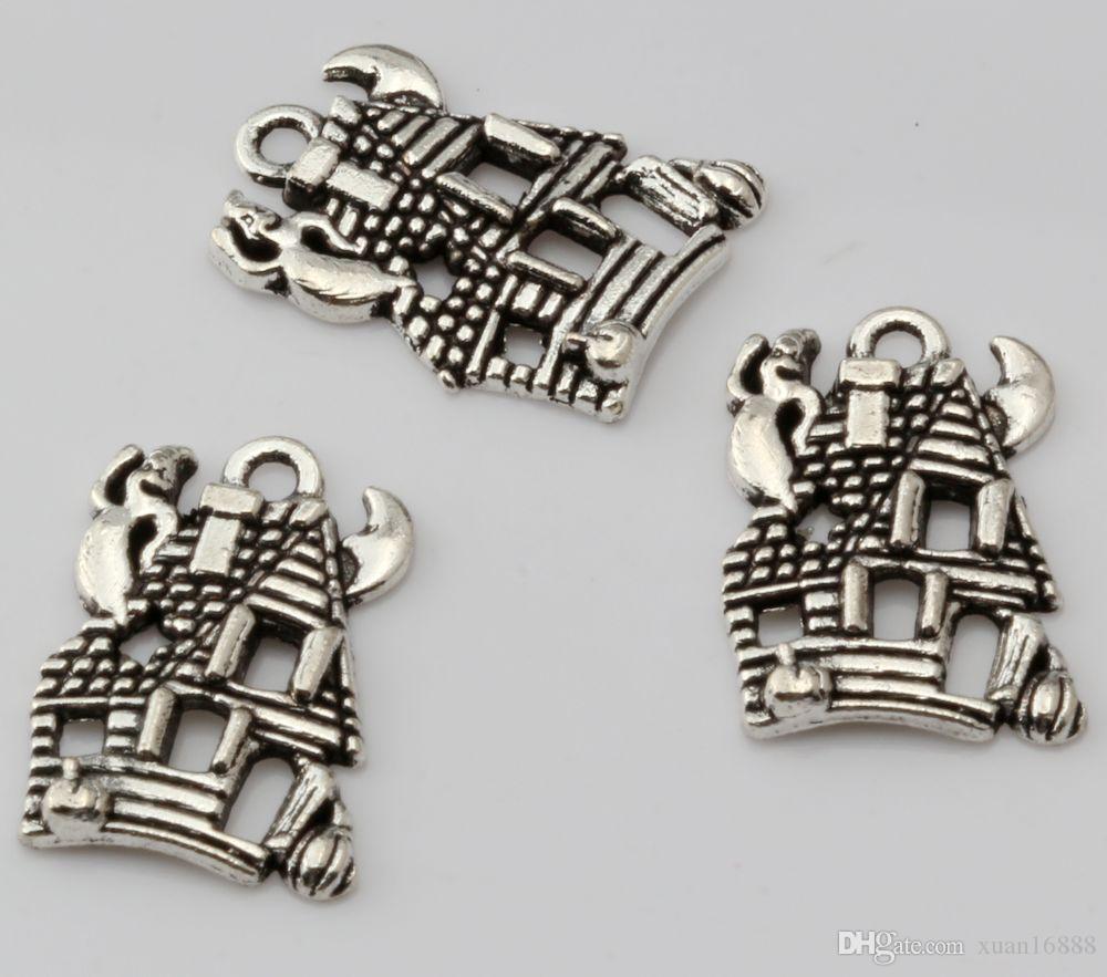 Горячей ! Модный античный серебряный сплав цинка * CUTE HAUNTED HOUSE GHOST * Шармы Подвеска 14 * 20 мм DIY Ювелирные изделия