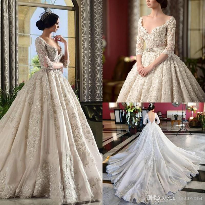 Luxury Chapel Wedding Dresses Long Train 3 4 Sleeves Backless Country Bridal  Gowns Sexy Deep V Neckline Plus Size Wedding Dress Pink Wedding Gowns  Princess ... 5b5080427
