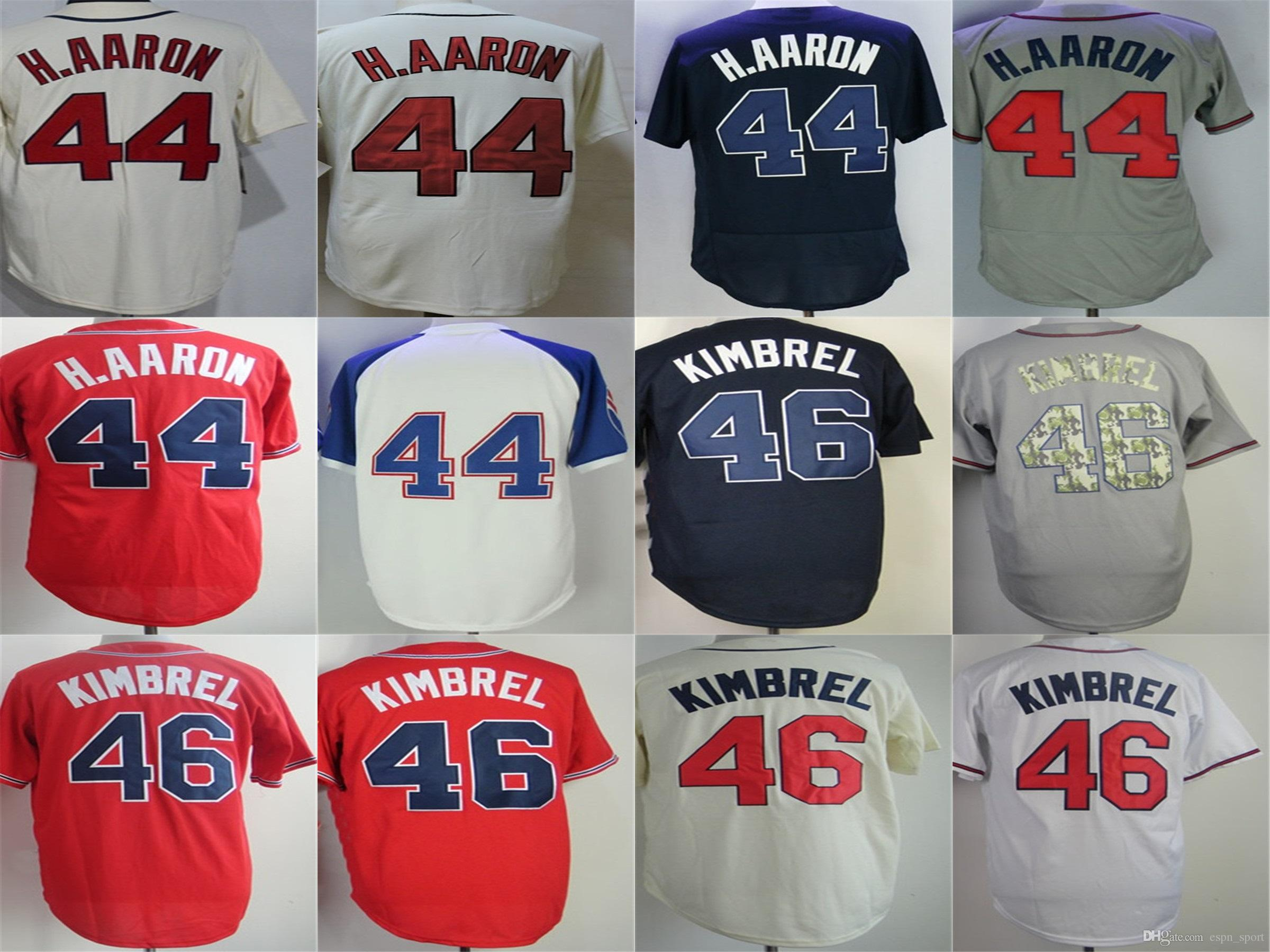 4ac39742f 2016 New TOP Quality Atlanta Jersey  44 Hank Aaron 46 Craig Kimbrel Jersey  White Cream Red Grey Blue Baseball Jersey Cheap Wholesale Atlanta Jerseys  44 Hank ...