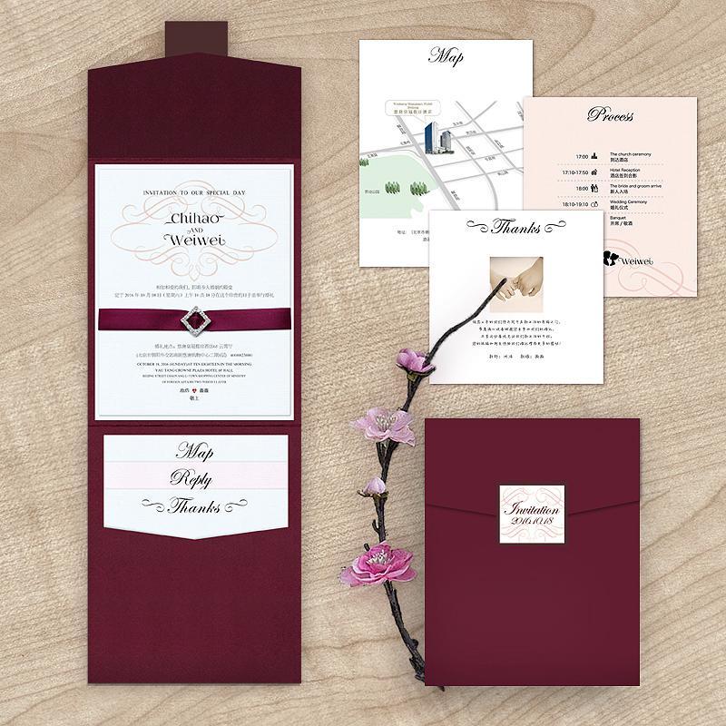 2016 New Arrival Burgundy Rhinestone Wedding Invitation With Rsvp
