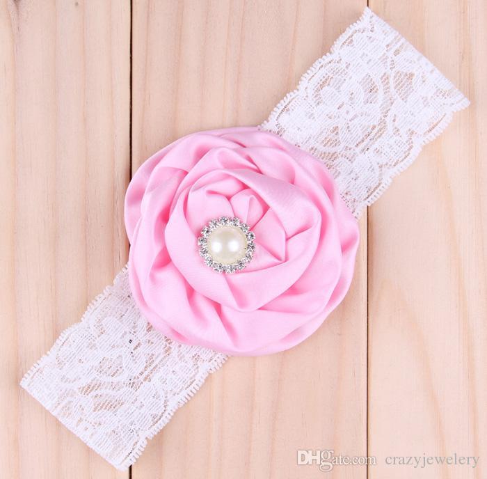 Baby Satin Rose Fasce Ragazza Pearl Diamond Lace Hairbands Accessori capelli bambini Fascia capelli Fiore Ornamenti capelli bambini Fotografia Puntelli