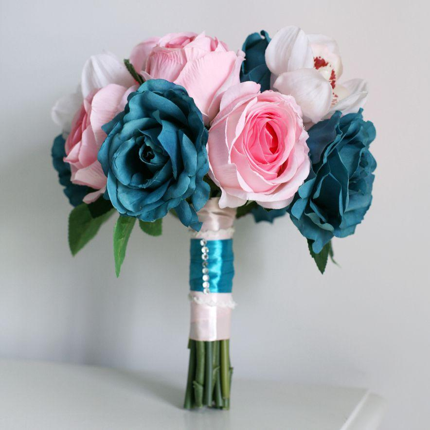 Blue Wedding Bouquets Pink Silk Flower Event Decoration Flowers Artificial Cascading Bridal Bouquet Favors And