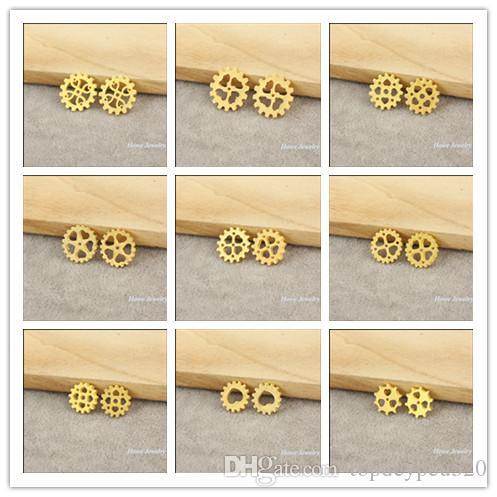 Mix Moda steampunk engrenagem liga encanto pingente de ouro Assista Acessórios DIY Jóias acessórios 180 unidades / lote