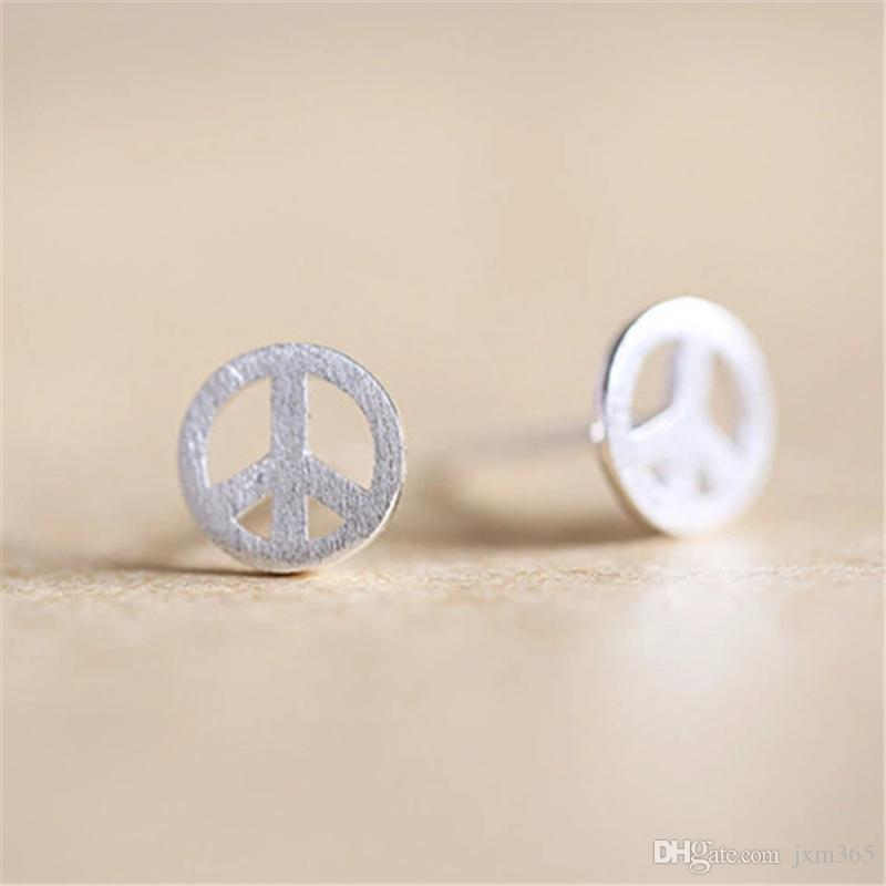 stud sterling silver listing in il earrings peace sign