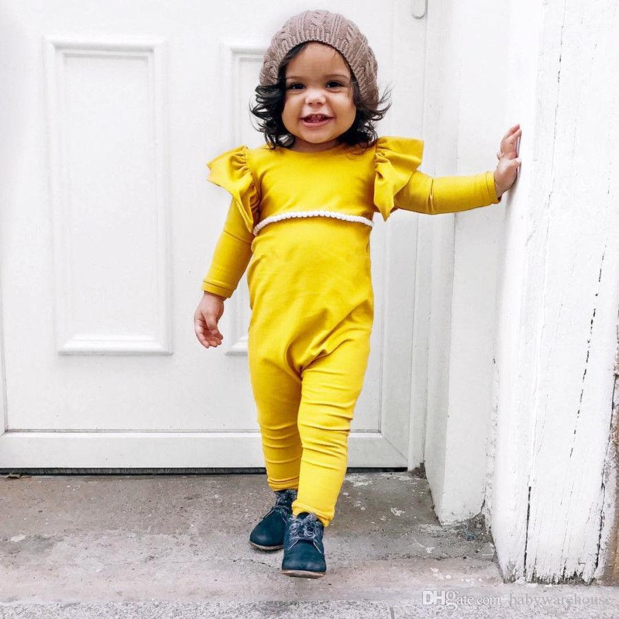 f9dee955445 2019 Hot Baby Girl Rompers Cotton Kids Clothing Bright Yellow Fly Sleeve  Long Sleeved Romper Infant Toddler Girls Jumpsuit Outfits Girls Clothing  From ...