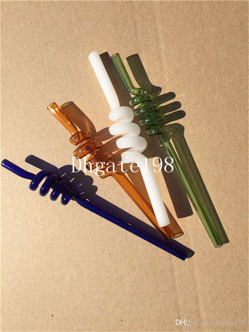 Recycler S 모양 흡연 물 유리 파이프 유리 피펫 유리 석유 버너 파이프 다채로운 밸런서 물 파이프