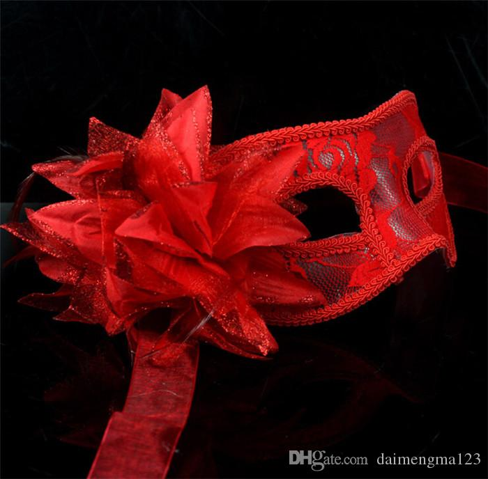 hot sale sexy Black white red Women Feathered Venetian Masquerade Masks for a masked ball Lace Flower Masks D156