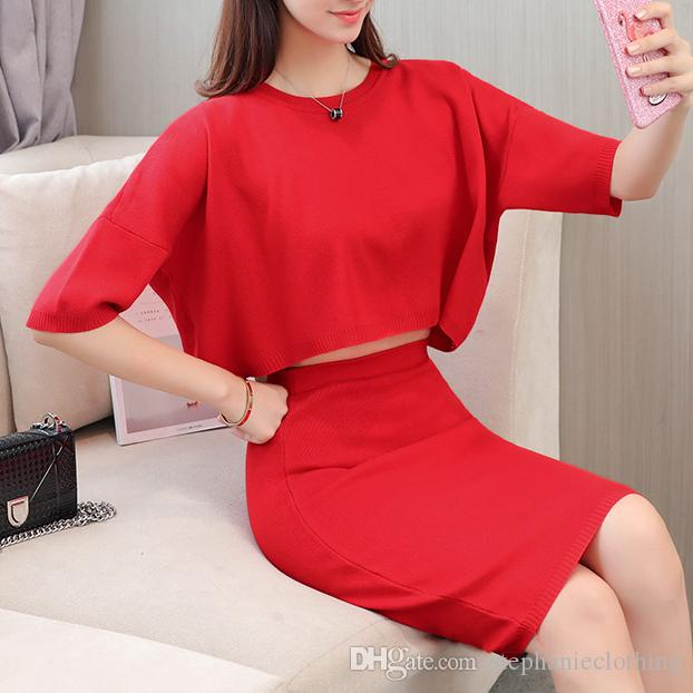 korean fashion women casual short top & bodycon skirt clothing set knitted suits solid skirts o neck lady outfit