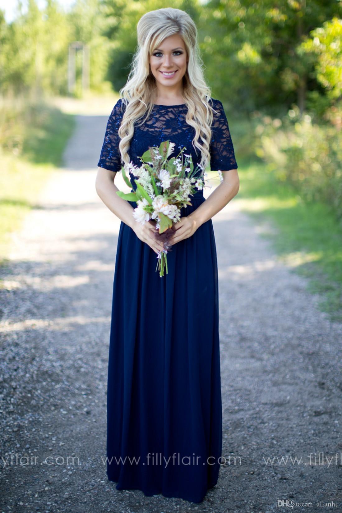 2019 style campagnard bleu marine robes de demoiselle d'honneur pure col rond en dentelle top manches courtes en mousseline de soie dos nu longue demoiselle d'honneur