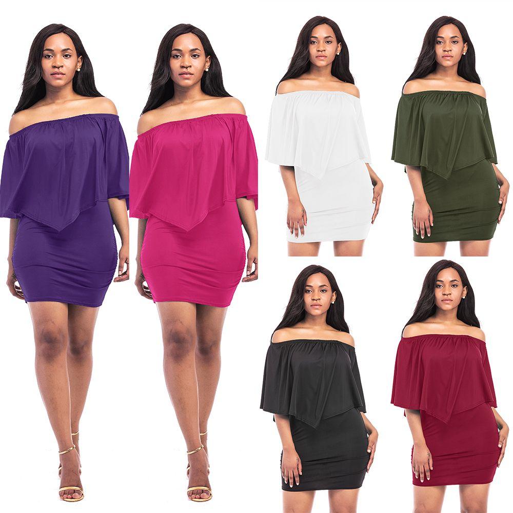 Compre Summer Slash Neck Bodycon Dresses Vestido Fashion Night Club ...