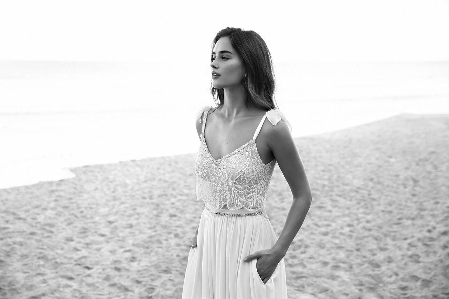 2019 kant boho trouwjurken spaghetti hals boog lihi hod kralen backless bruid jassen 2017-2018 vintage strand chiffon trouwjurk