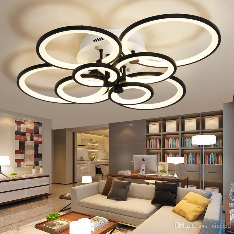 modern chandelier black. Dimmable Remote Control Living Study Room Bedroom Modern Led Chandelier Light White/Black 4/6/8 Rings Surface Mounted Fixture Black
