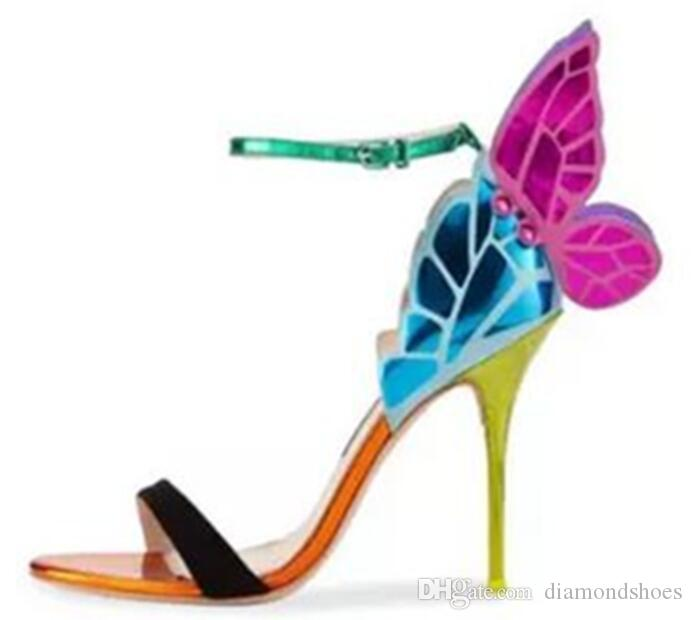 Angel wings women sandals open toe buckle ankle strap butterfly female stiletto high heels party shoes sandals zapatos mujer