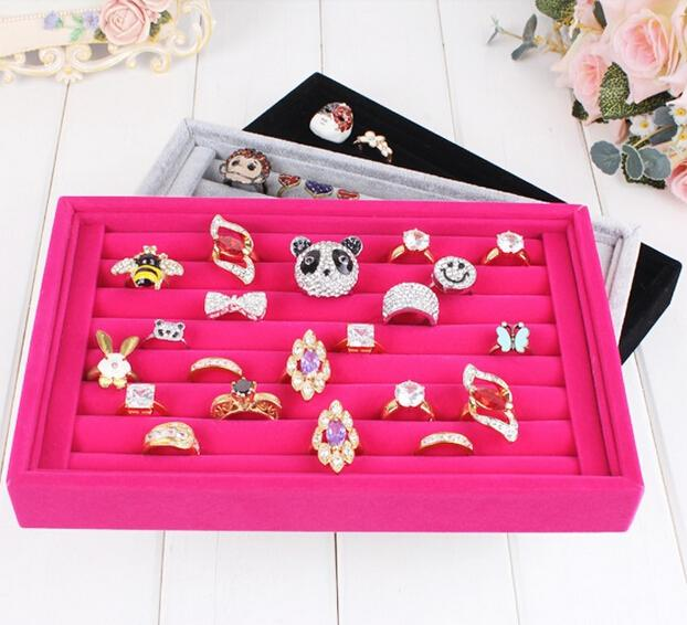 Free shipping 2pcs/lots Jewelry Display Rings Organizer Show Case Holder Box New red Ring Storage Ear Pin Accessories box
