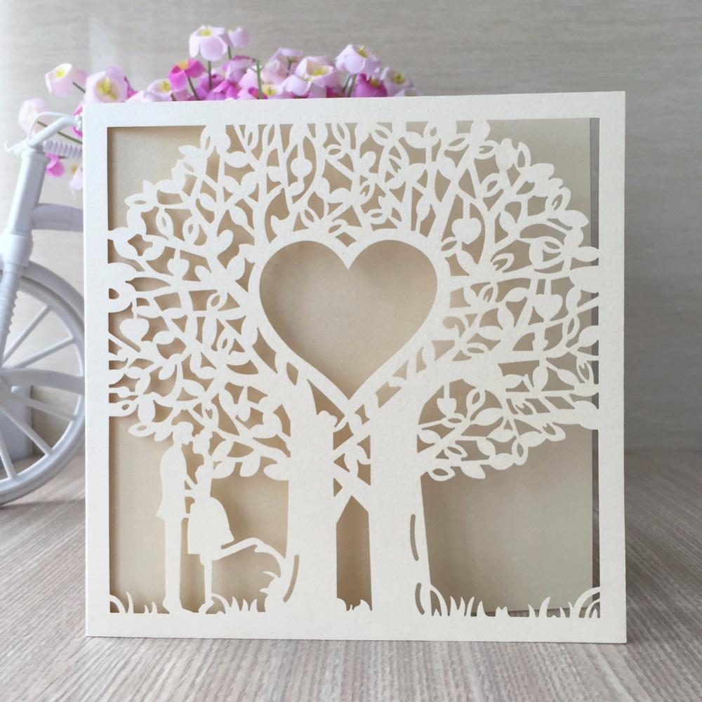 Wholesale Wholesale Laser Cut Wedding Invitations Elegant Love Heart ...
