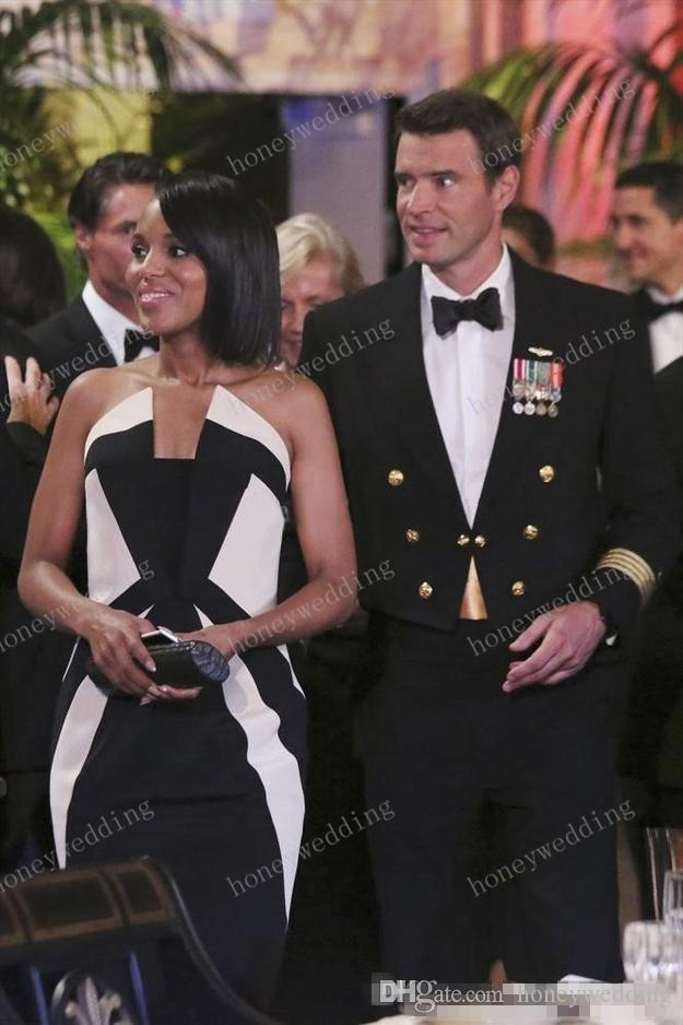 Kerry Washington Scandal Celebrity Dresses Olivia Pope Black and White Evening Gowns Women Formal Dresses Red Carpet Dresses for Lady 2015