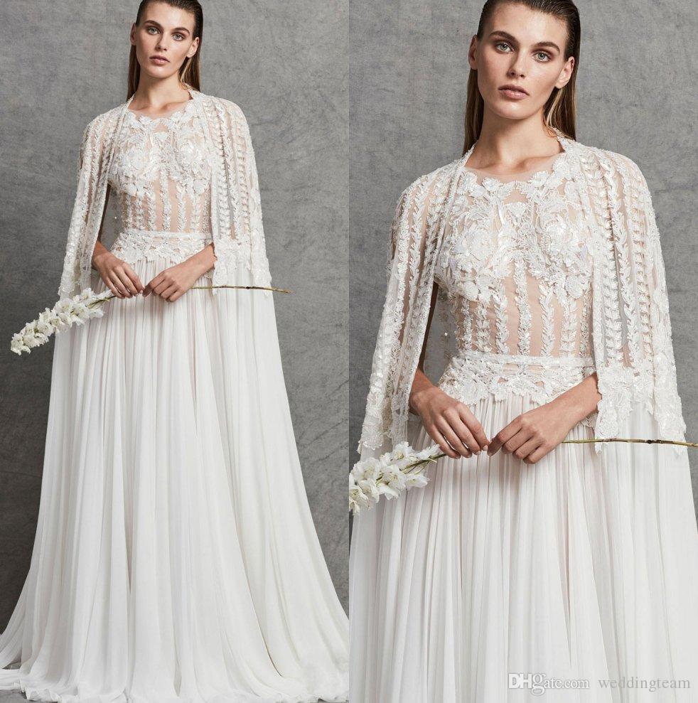 Discount 2018 Zuhair Murad Wedding Dresses With Cape Sheer Jewel
