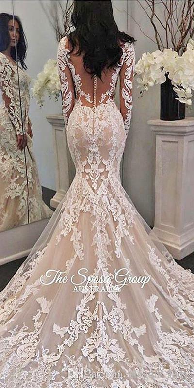 2019 Nueva Ilusión Vestidos de novia princesa sirena de la boda de la boda de manga larga vestidos de encaje de tul con apliques Corte Botones