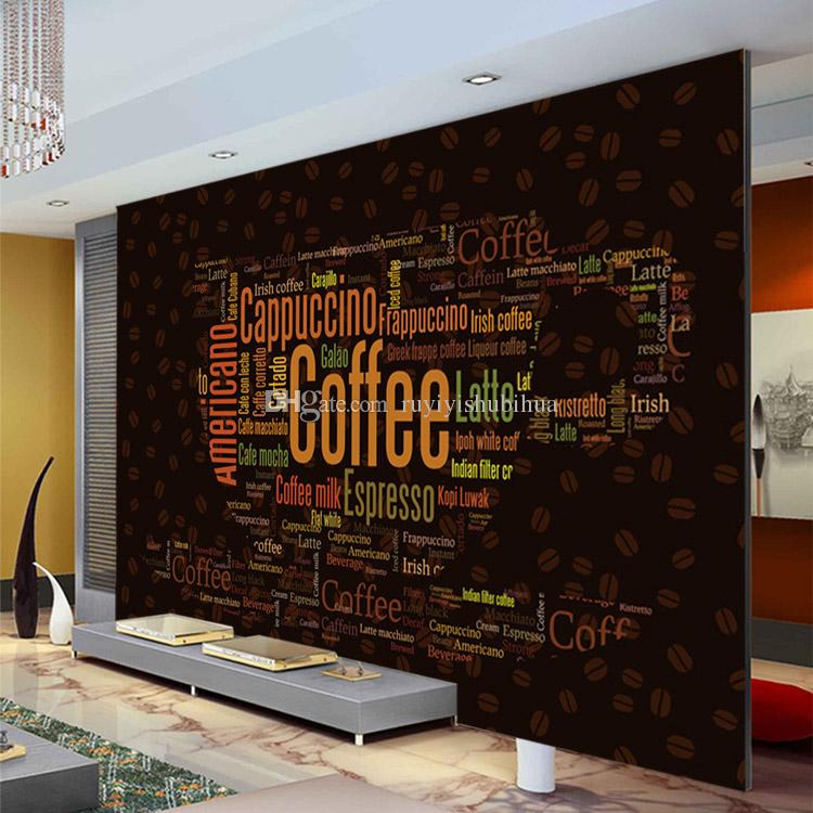 Coffee letters wallpaper custom d wall mural fashion