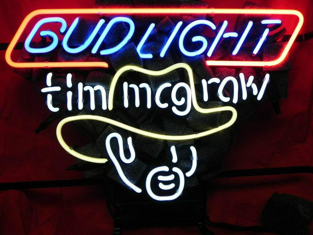 HOT BUD LUZ TIM MCGRAW NEON SIGN REAL TUBO DE VIDRIO BARRA DE CERVEZA PUB Neon Light Sign pantalla de la tienda