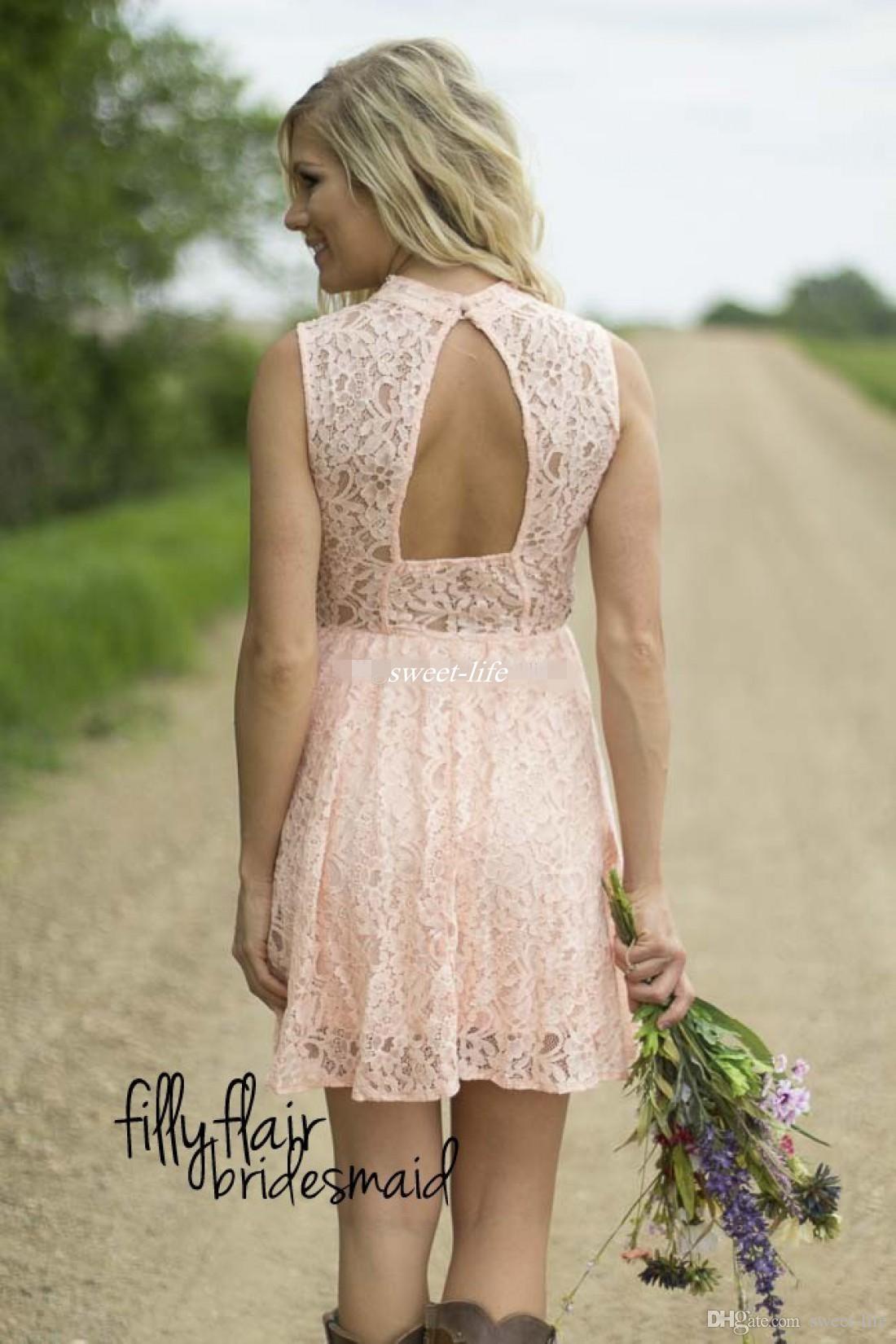 2016 vestidos de dama de honor cortos de encaje lindo cuello alto sin mangas espalda abierta blanco plata azul marino vestidos de dama de honor rosa sin espalda vestido de fiesta país