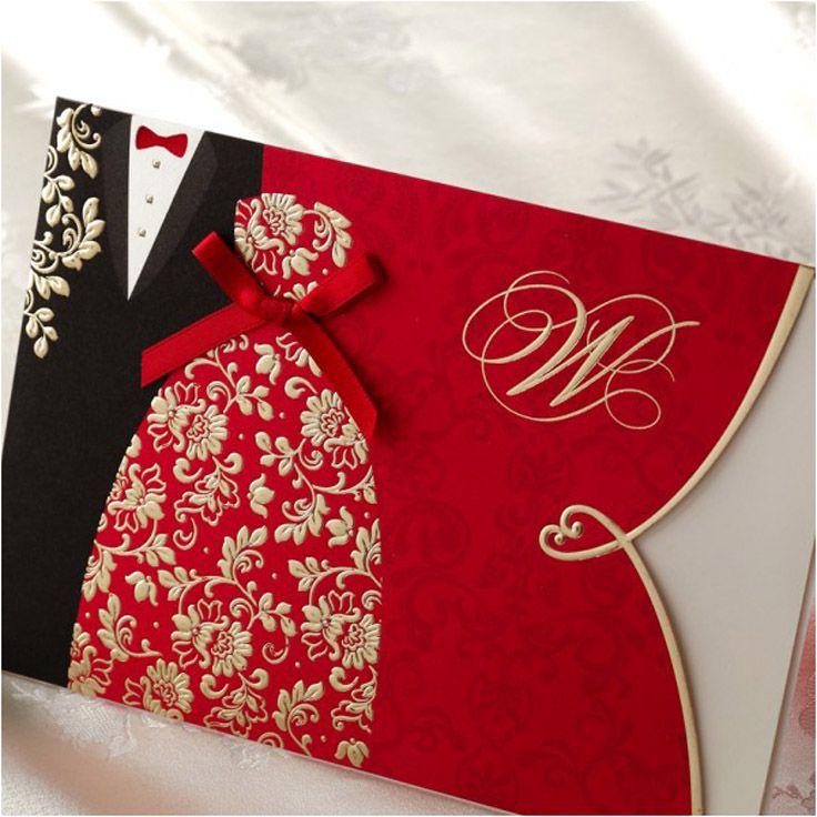 convites para casamento simples red black gold printing casal