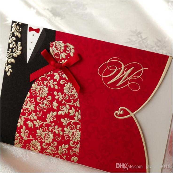 Red Black Gold Printing Couple Wedding Invitations Cards With ...