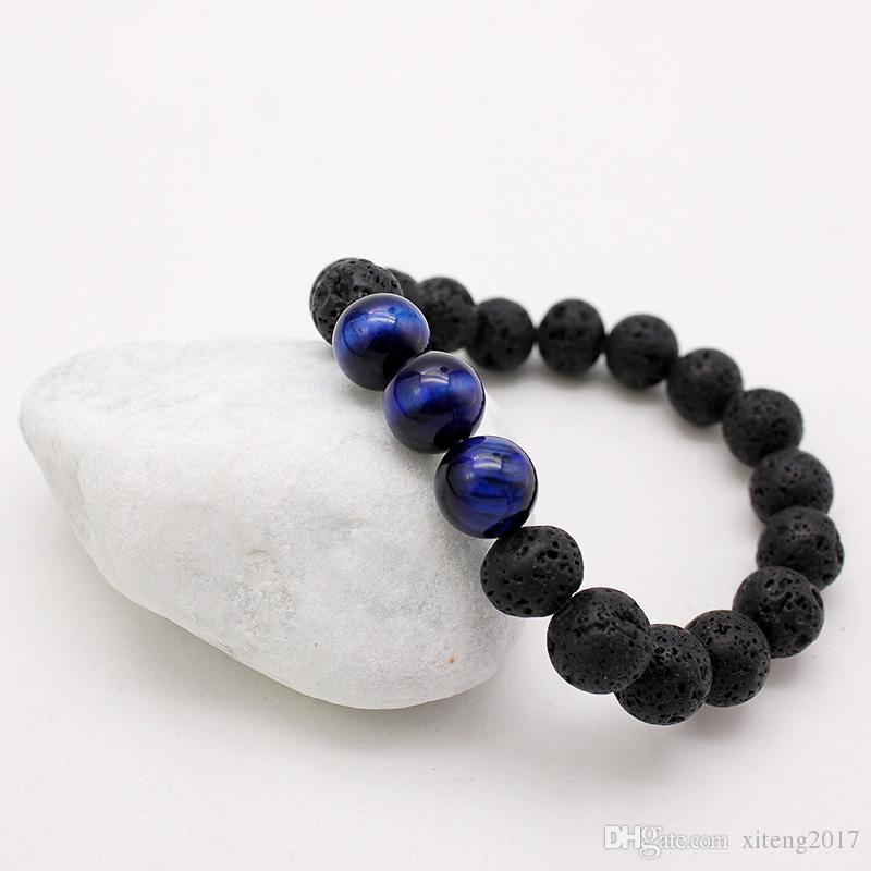 Nueva Moda 10mm Pulseras de Piedra de Lava Energía Chakra Healing Balance Perlas Negras Pulsera Para Hombres Oración Estiramiento Ojo de Tigre Piedra Joyería de Yoga