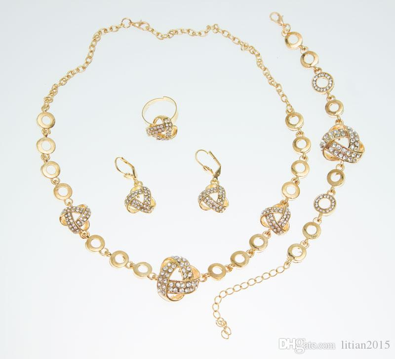 African Gold Plated Romantic Fashion Clear Crystal Necklace Sets Fashion Costume Jewelry Sets