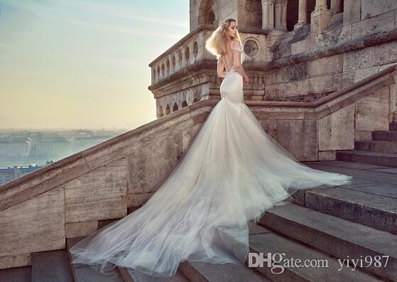 Famouse designer High quality Silk satin Sexy Mermaid Wedding Dresses Elegant Luxury Spaghetti Bridal Gowns