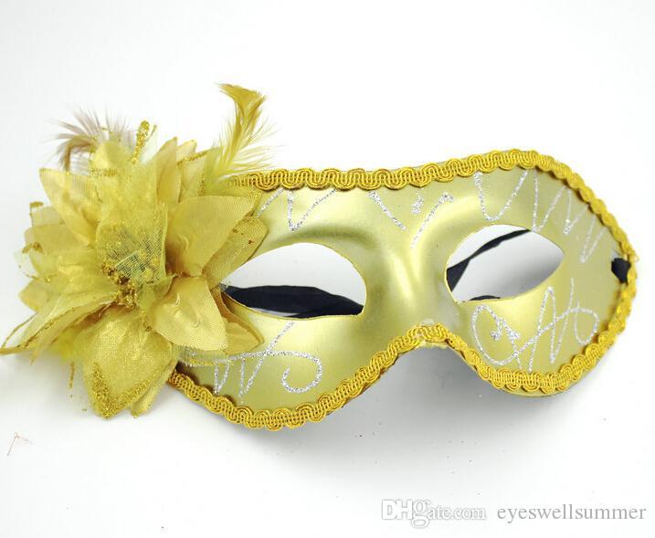 Kadınlar Seksi Yortusu Venedik maske masquerade maskeleri ile çiçek tüy maske dans parti maskesi Venedik parti maskeleri