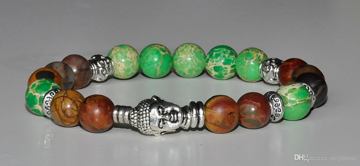 SN0211 Jasper pedra natural pulseira de buda meditação coração chakra pulseira de cura bem-estar equilíbrio pulseira de yoga