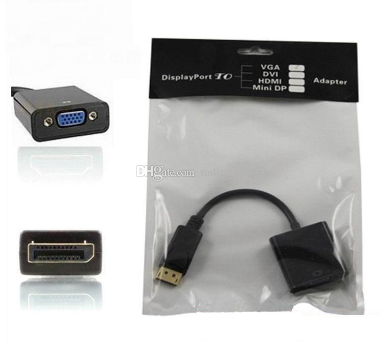 100 unids / lote * Thunderbolt Display Port DisplayPort DP macho a VGA Adaptador de cable convertidor hembra PC portátil