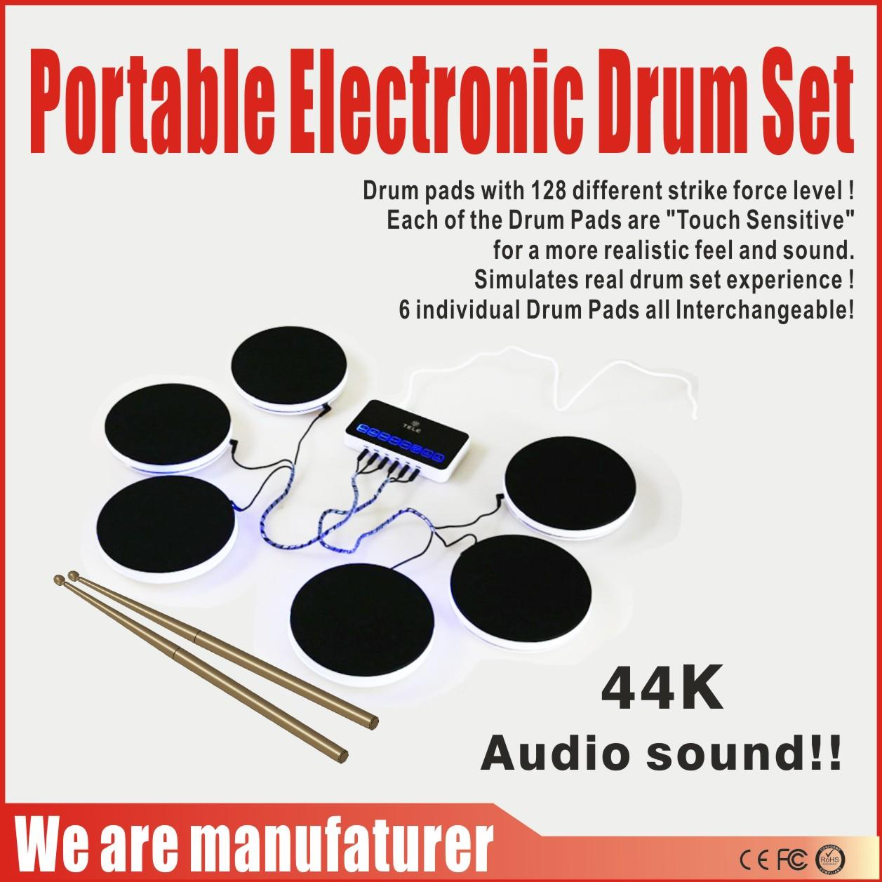 Games & Accessories Game Toys Portable Game Players Electronic Drum Set Musical Instruments Percussion 44K Audio sound Six Drum Pads