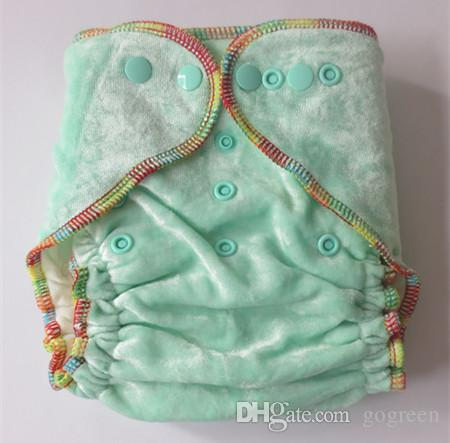 2015 NEW Design Organic 100% Bamboo Cotton Velour baby Cloth diapers Nappy No PUL with 50 inserts