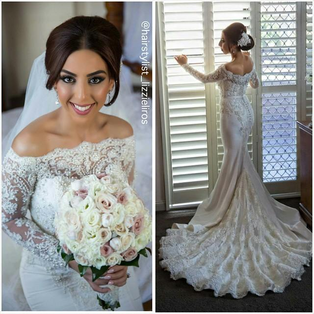 2015 Pearl Bead Mermaid Lace Long Sleeves Beaded Beach Wedding Dresses Bateau Court Train Satin Gowns Sexy Dress Plus Size Cheap