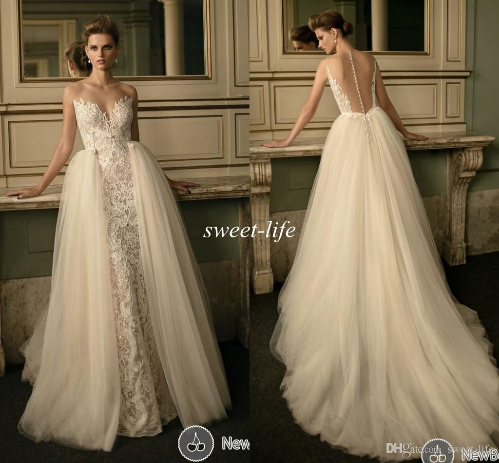 Discount Berta 2016 Sheer Lace Wedding Dresses With