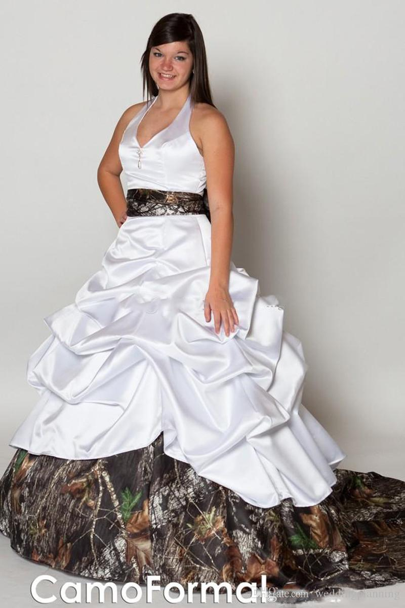 Camo Plus Size Wedding Dresses Forest Ball Gown V Neck Halter Satin Camouflage Bridal Gowns Cowgirls Wedding Gowns