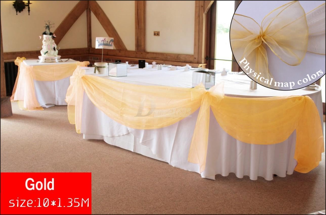 10m x135m gold organza wedding backdrops and table skirting with 10m x135m gold organza wedding backdrops and table skirting with swag drapery curtain of wedding walls banner decorations baptism party supplies from watchthetrailerfo