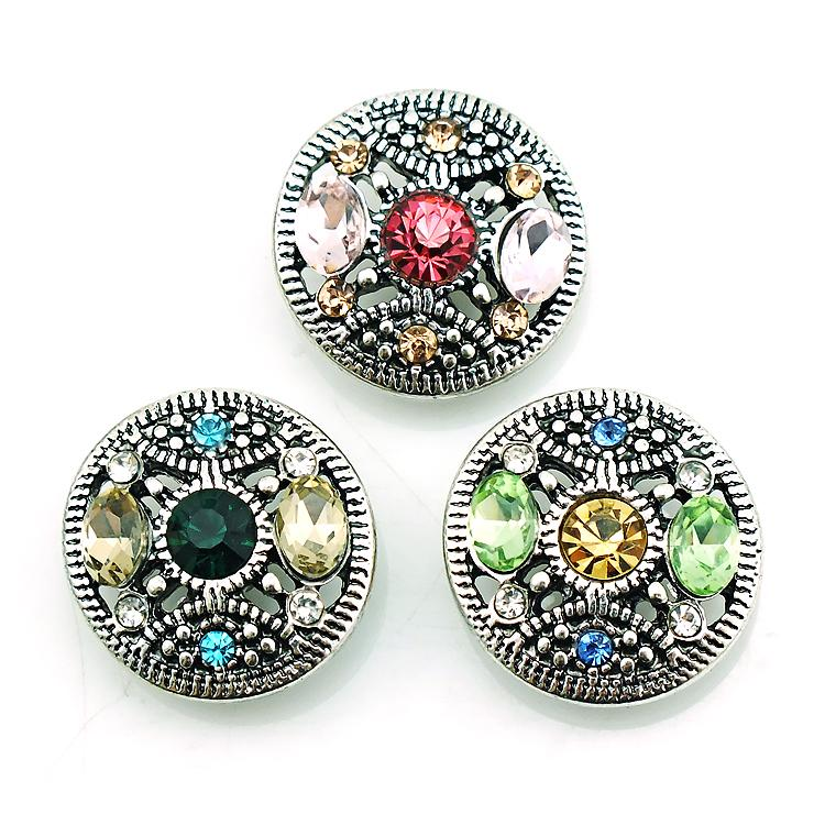 High Quantity 18mm Snap Buttons Fashion 3 Color Pierced Crystal Metal Ginger Clasps DIY Noosa Jewelry Accessories
