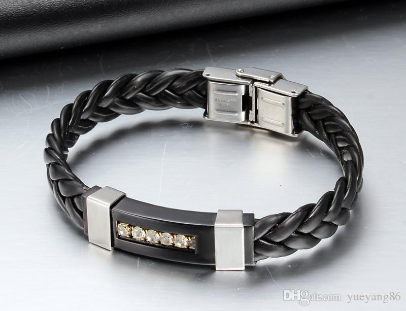 New Arrival XMAS' Gift For Men And Women High Quality Braided Leather Black Silver Stainless Steel Crystals Bracelet Bangle 10mm*215mm