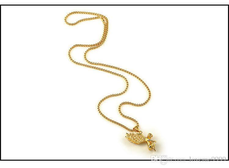 18 K oro chapado en oro real de los hombres ángel del muchacho ala de cristal colgante, collar de 80 cm de largo de alta calidad Rock Hiphop collar grande hombres cadena