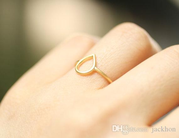 -R019 простой крошечный водослива кольцо открыть каплевидные кольца милый контур капли воды слезоточивый дождь падение кольцо для женщин