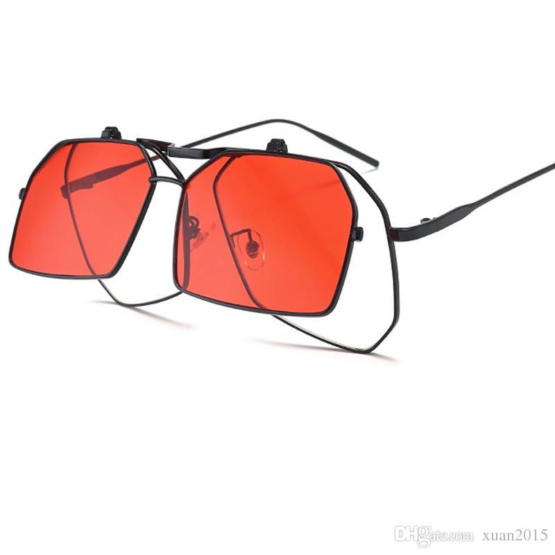 a7a1156e80861 Compre Moda Flip Steampunk Óculos De Sol Das Mulheres Irregular Quadrado  Óculos De Sol Tendência De Duas Cores Óculos Unisex Do Vintage Quadro  Grande Óculos ...