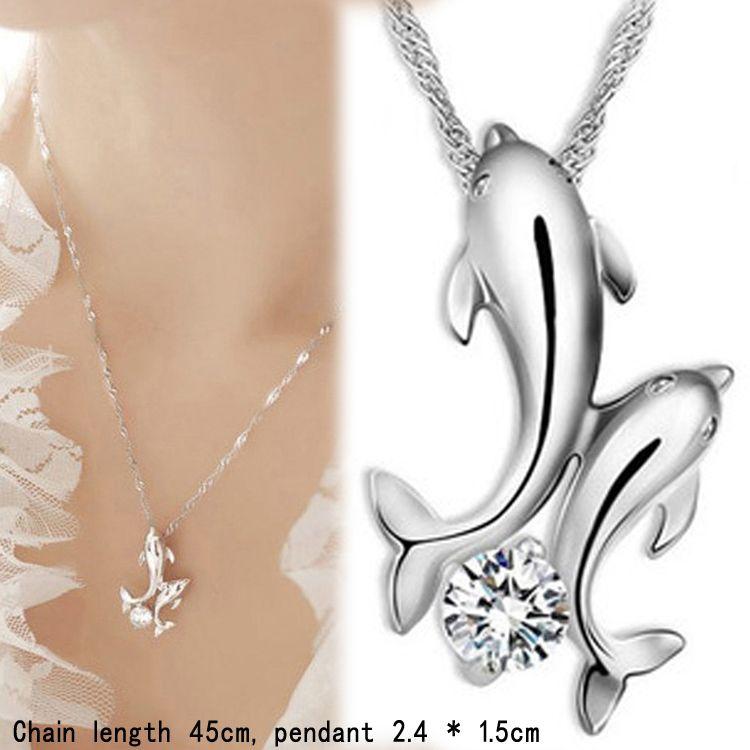 Ожерелья с подвесками Симпатичные Дельфин Ожерелье Серебро 925 Двойной Дельфин Горный Хрусталь с Цепью Ожерелье Женщины Ювелирные Изделия Рыбы
