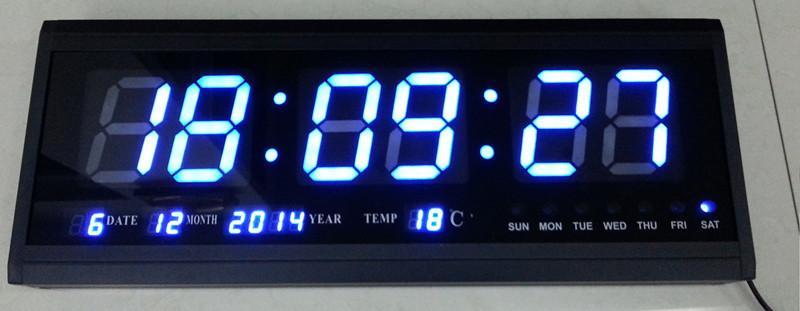 Ht4819sm 6Aluminum Large Digital Led Wall Clock Big Watch Modern