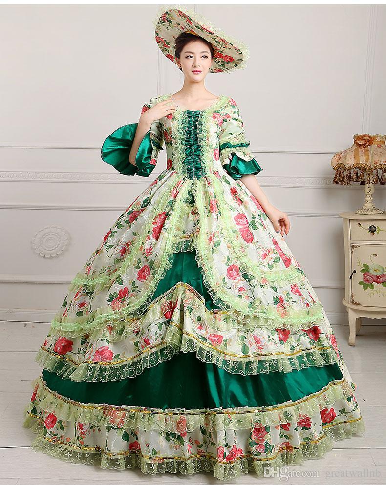 Luxus zerzauste Blumen 9 Farben lflowers Aufflackernhülse mittelalterliches Kleid mit Hut Renaissance Kleid Königin / Prinzessin Kleid Lolita Belle Ballkleid