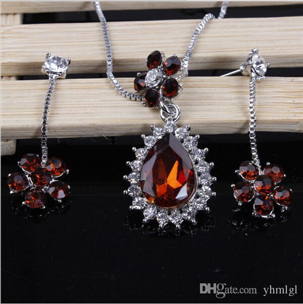 New Fashion Water Drop Flower Shape 18K Silver Plated Austrian Crystal Necklace Earrings Jewelry Set For Women Wedding Gifts